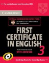 Cambridge First Certificate In English 3 For Updated Exam Self Study Pack (Student's Book With Answers And Audio C Ds): Examination Papers From University Of Cambridge Esol Examinations - Cambridge University Press