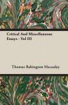 Critical and Miscellaneous Essays, Vol 3 - Thomas Babington Macaulay
