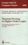 Theorem Proving in Higher Order Logics: 12th International Conference, TPHOLs'99, Nice, France, September 14-17, 1999, Proceedings (Lecture Notes in Computer Science) - Yves Bertot, Gilles Dowek, Andre Hirschowitz, Christine Paulin, Laurent Thery