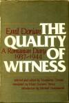 Quality of Witness: A Romanian Diary, 1937-1944 - Emil Dorian, Marguerite Dorian, Michael Stanislawski, Mara Soceanu Vamos