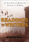 Readings for Writers (Custom) - Jo Ray McCuen-Metherell