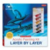 Acrylic Painting Kit Layer by Layer: Dolphin Mates: This unique method of instruction isolates each layer of the painting, ensuring successful results. - Wyland