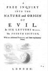 A Free Inquiry into the Nature and Origin of Evil - Soame Jenyns
