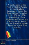 A Dictionary Of The First, Or Oldest Words In The English Language - Herbert Coleridge