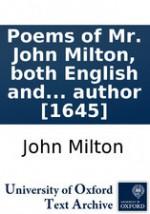 Poems of Mr. John Milton, both English and Latin - John Milton