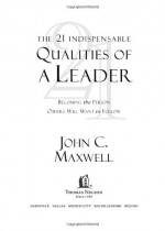 The 21 Indispensable Qualities of a Leader: Becoming the Person Others Will Want to Follow - John C. Maxwell, Rolf Zettersten