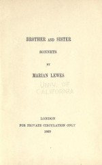 Brother and Sister, Sonnets - George Eliot, Marian Lewes