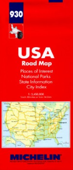 USA Road Map, Places of Interest, National Parks & Monuments, State Information, Index: 1:3,450,000, 1 Inch:55 Miles or 1cm:34.5km = USA, Carte Routie - Michelin Travel Publications