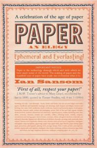 Paper: An Elegy - Ian Sansom