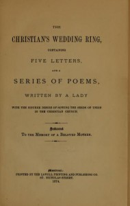 The Christian's wedding ring [microform]: containing five letters and a series of poems - Jane Porter