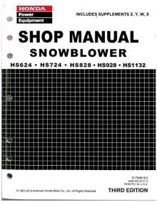 6176861E5 Honda HS624 HS724 HS828 HS928 HS1132 Snowblower Shop Manual - Manufacturer