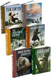 Adventure Books Set: Around the World in 80 Days, Gulliver's Travels, Huckleberry Finn, Robin Hood, The Swiss Family Robinson, Tom Sawyer - Mark Twain, Jonathan Swift, Jules Verne, Johann David Wyss, Howard Pyle