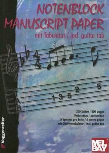 NOTENBLOCK MANUSCRIPT PAPER - STAVES AND GUITAR TAB - Voggenreiter
