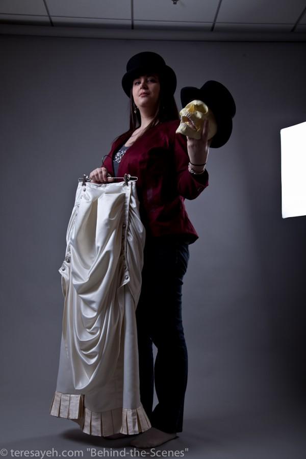 Cavalyn Galano, my amazing dress designer, posing with Jim Dastard from the Dark Victorian series