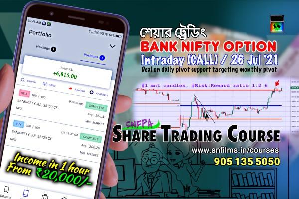 Intraday Deal on Bank Nifty CALL Option - 26 Jul 2021
