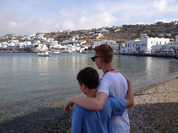 My boys enjoying the beautiful view of Mykonos Greece