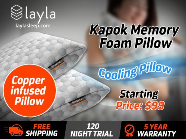 SUMMER SALE: Layla kapok Memory Foam Pillow - Buy One Get One 1/2 OFF