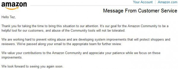 Heard back from Amazon re: my report of campaigned voting on customer reviews.