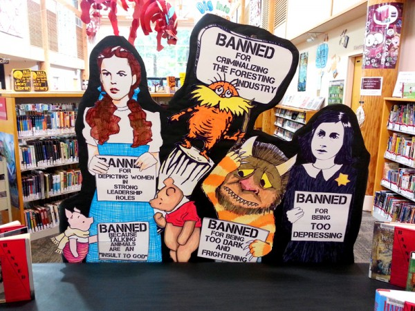 Banned books display by Rachel Moani