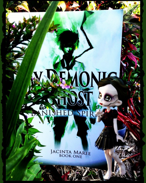 Ghoul Girl with Ghosts in the Garden by Book Frivolity. (book: My Demonic Ghost: Banished Spirit by Jacinta Maree)