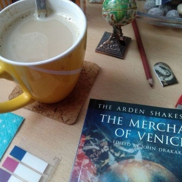 Showing off my Arden Shakespeare I: The Merchant of Venice feat. marzipan latte!