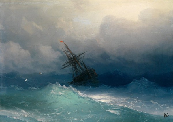 "This painting is: ""Ship on a Stormy Sea,"" by Ivan Konstantinovich Aivazovsky (1817-1900)"