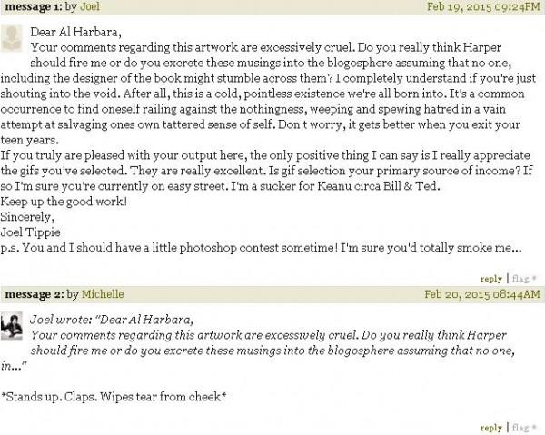 Book designer comes across criticism for a recent book cover he designed. Decides to respond. Unprofessional.