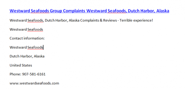Westward Seafoods Group Complaints