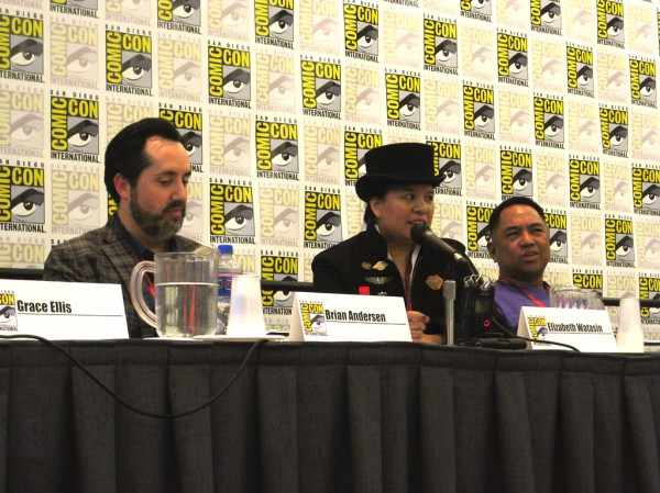 "Me (in the hat), ""LGBT Comics for Young Readers"" panel, San Diego Comic-Con 2014"