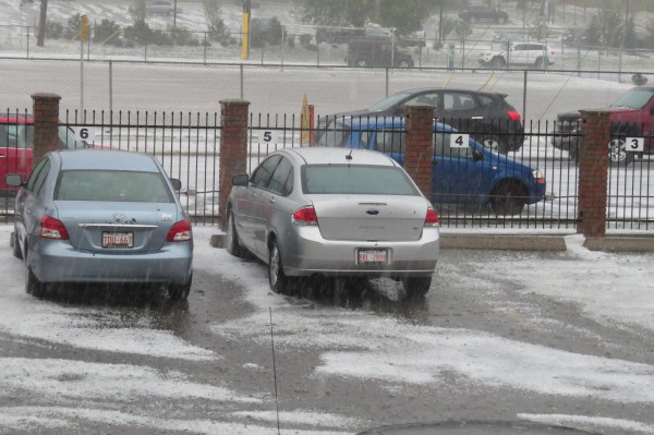 Hail around the cars in our parking lot