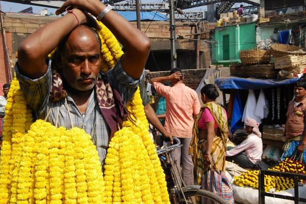 Sprzedawca kwiatów na targowisku Mallick Ghat (Kolkata, 2012 r.)