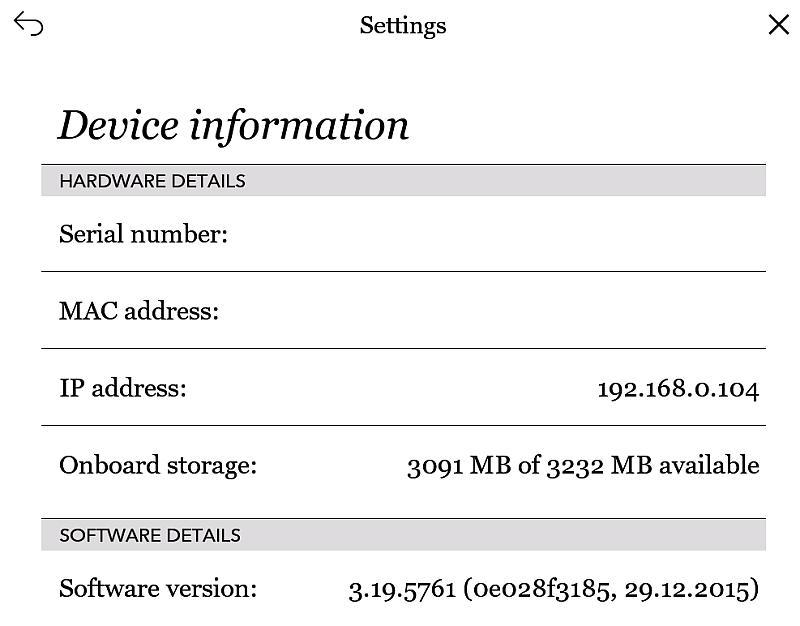Wersja firmware'u w Kobo Glo HD