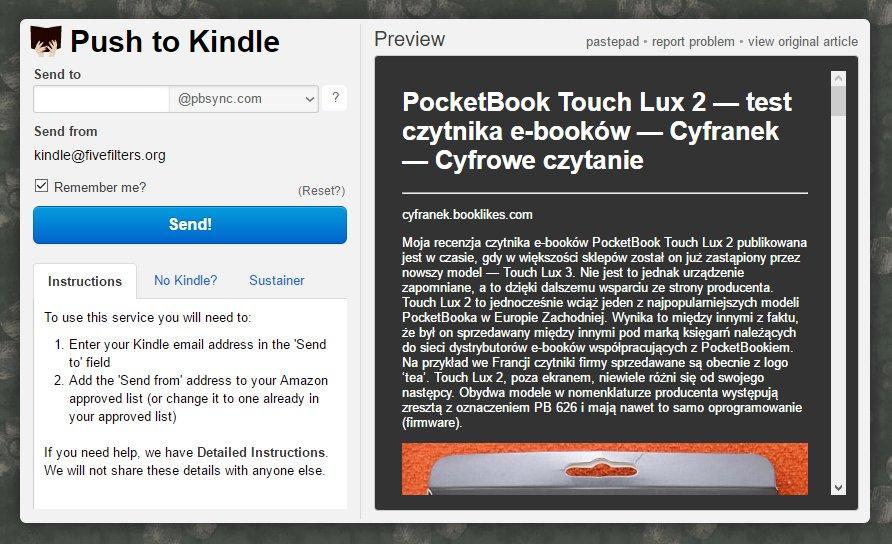 Send to Kindle dla czytników PocketBook