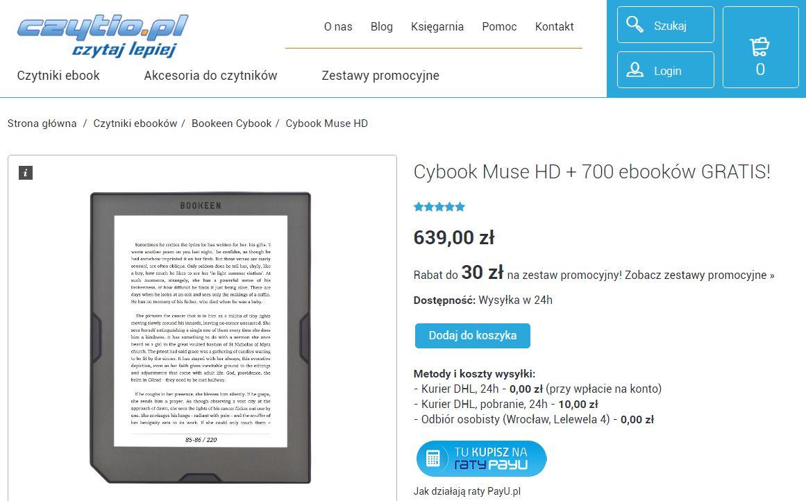 Cybook Muse HD - oferta na czytnio.pl