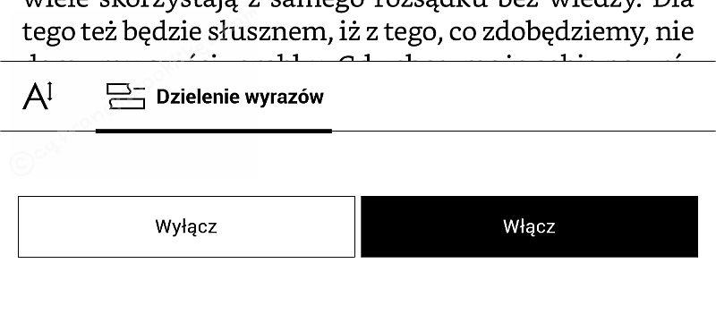 PocketBook InkPad 2 - włączanie dzielenia wyrazów