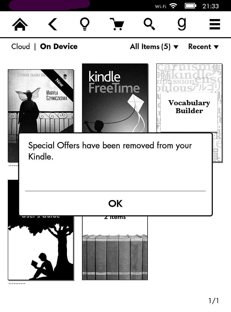 Reklamy w Kindle wyłączone