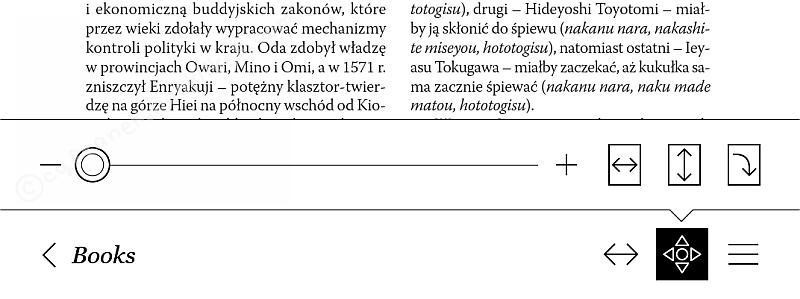 PDF w Kobo Glo HD - menu ustawień wyświetlania