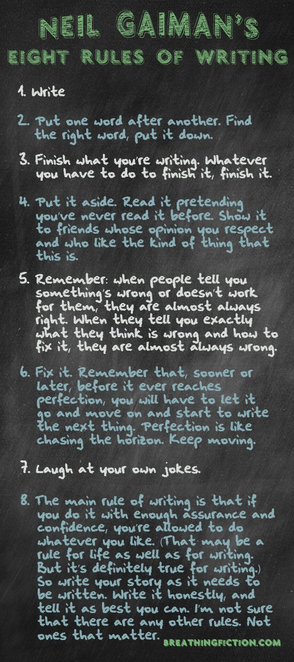 Neil Gaiman's 8-Rules for Writing