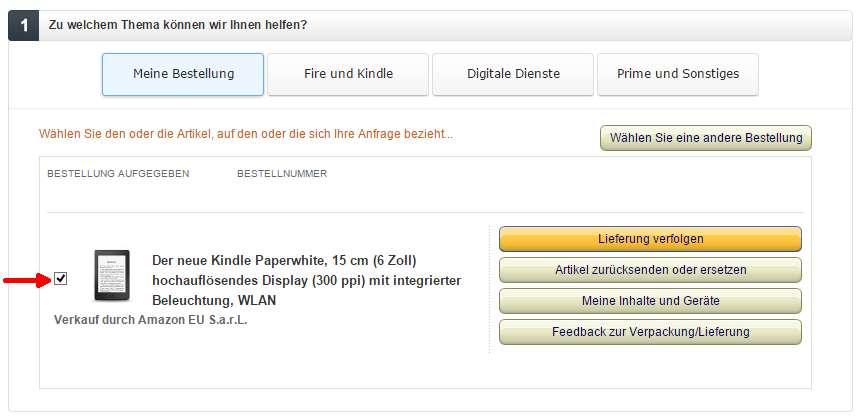Kontakt z obsługą dotyczy zakupu Kindle w amazon.de