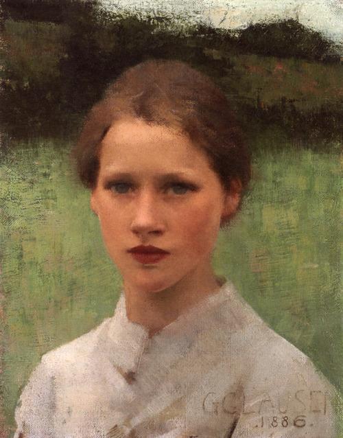 """Sir George Clausen, """"A Village Maiden"""" (oil on canvas, 1886)"""