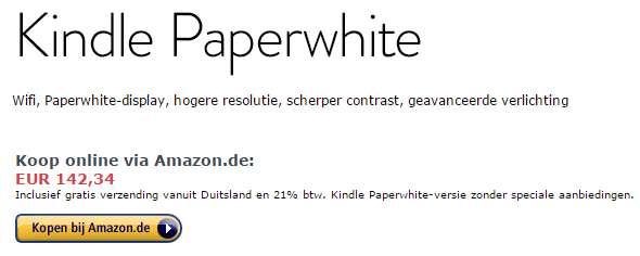 Amazon holenderski oferuje czytniki Kindle