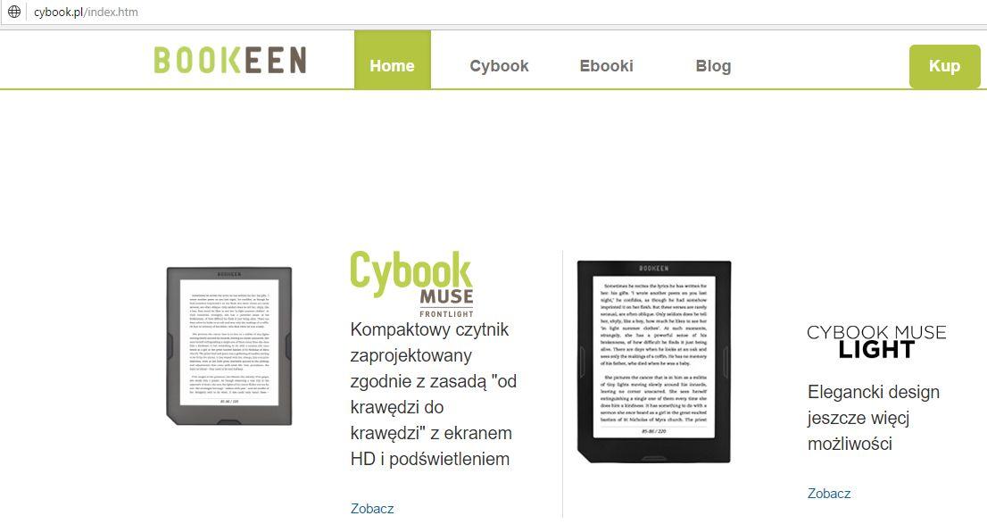 Strona WWW czytników Cybook