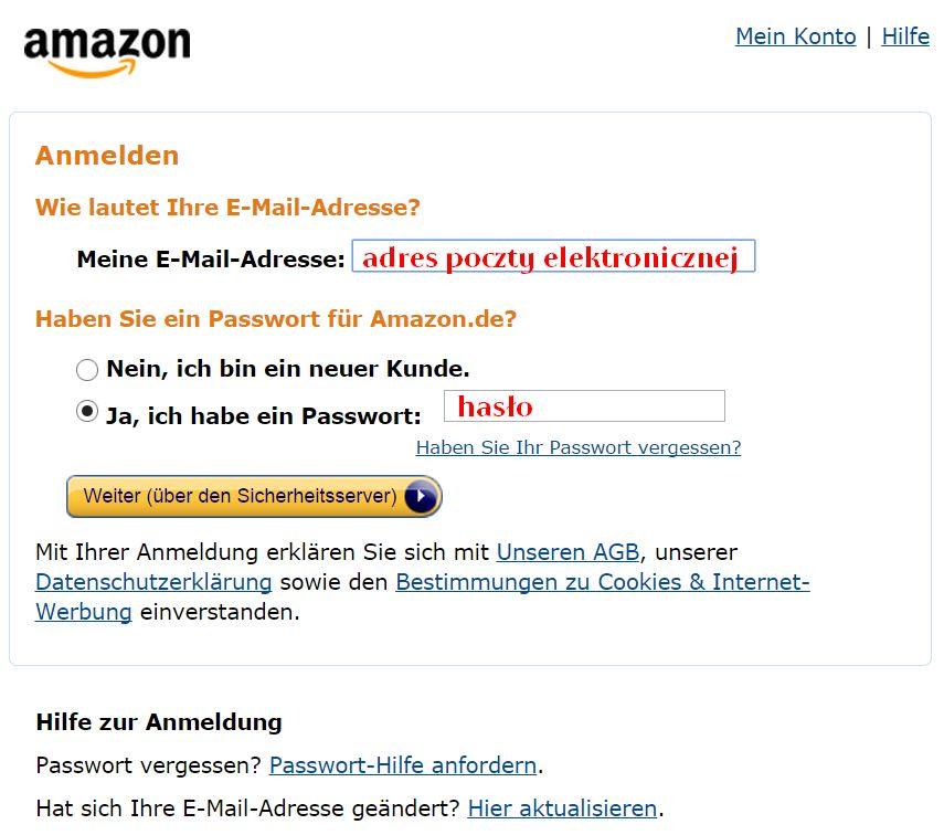 Logowanie na konto niemieckiego Amazonu