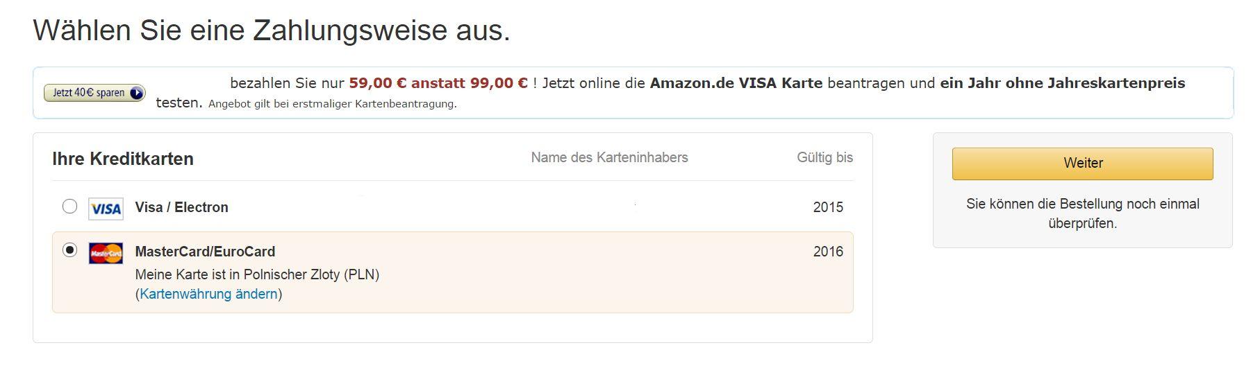 Płatność w niemieckim Amazonie