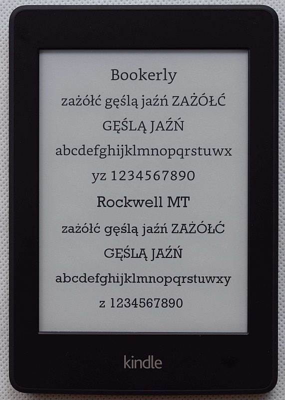 Czcionka Bookerly w Kindle Paperwhite 2