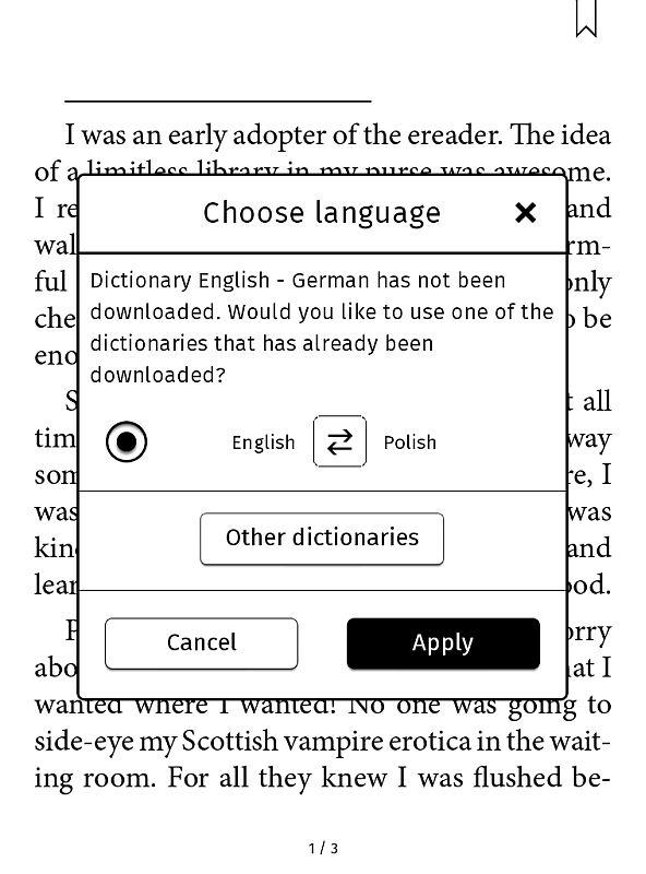Słownik w Tolino Vision 2