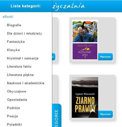 Kategorie e-booków w serwisie czasczytania.pl