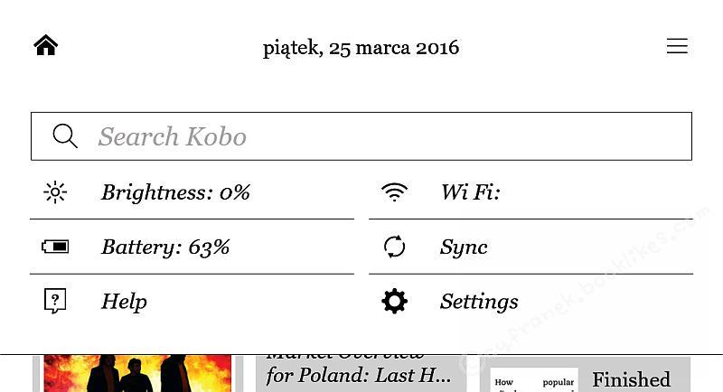 Górne menu ekranu Kobo Glo HD