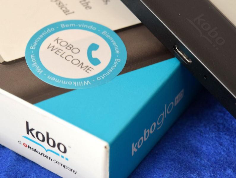 naklejka Kobo Welcome na pudełku czytnika Kobo Glo HD