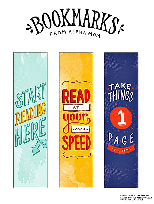 Encouraging Bookmarks by Alpha Mom
